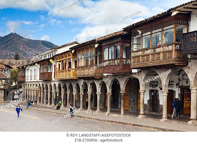 North side of the Plaza de Armas in the city of Cusco, Peru,