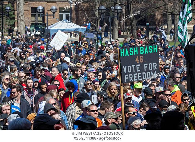 Ann Arbor, Michigan USA - 1 April 2017 - Thousands attended the annual Hash Bash, a 45-year tradition at the University of Michigan