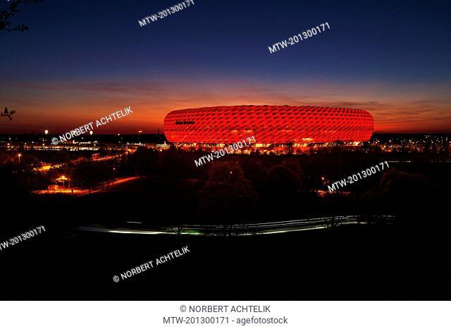 View at the illuminated Allianz Arena, Munich, Bavaria, Germany