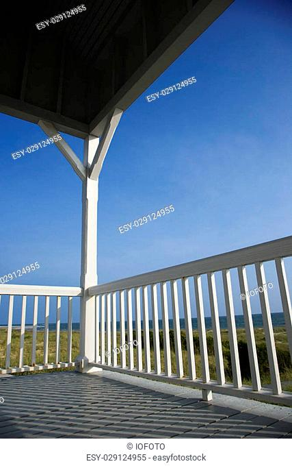 Porch facing beach on Bald Head Island, North Carolina