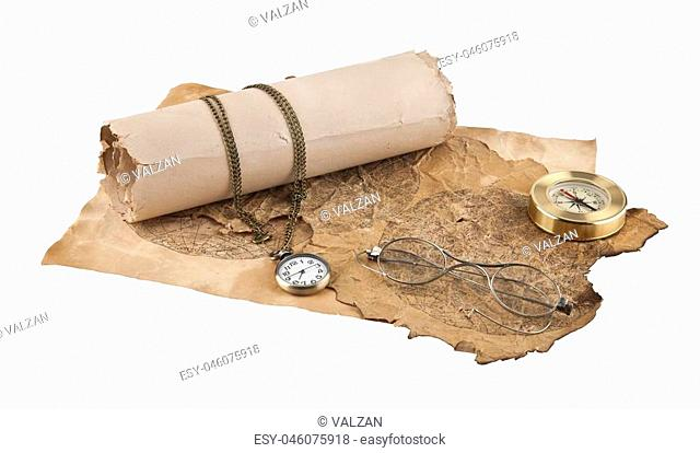 old paper, compass and sunglasses isolated on white background closeup