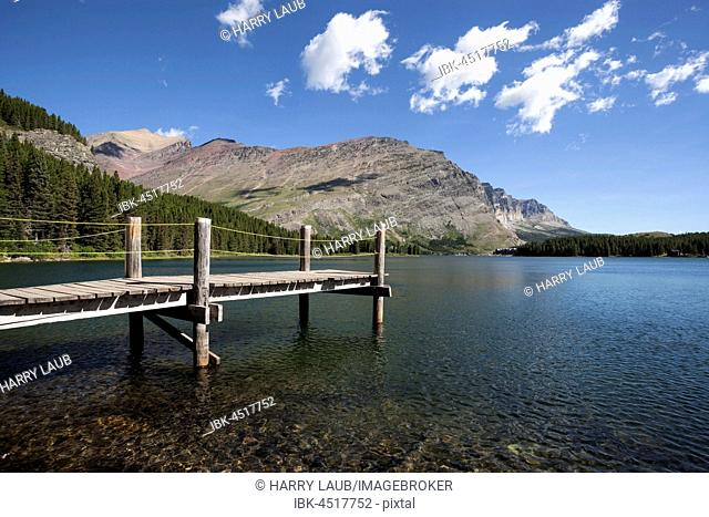 Wooden walkway on Swiftcurrent Lake, Many Glacier area, Glacier National Park, Rocky Mountains, Montana Province, USA