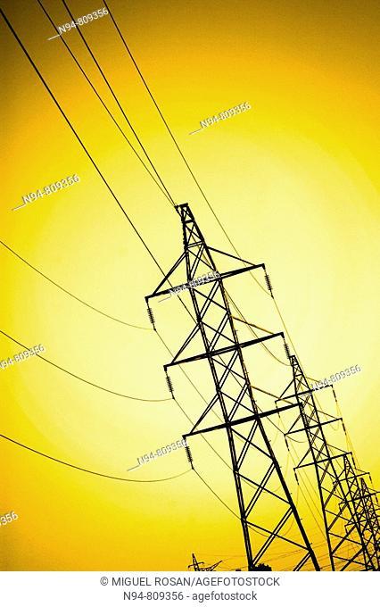 Poste del entramado del suministro de energía eléctrica de la zona residencial La Cañada, Comunidad Valenciana España Europa Poste's network of electricity...