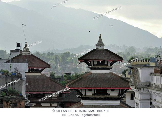View of temple roofs, Durbar Square, Kathmandu, Nepal, Asia