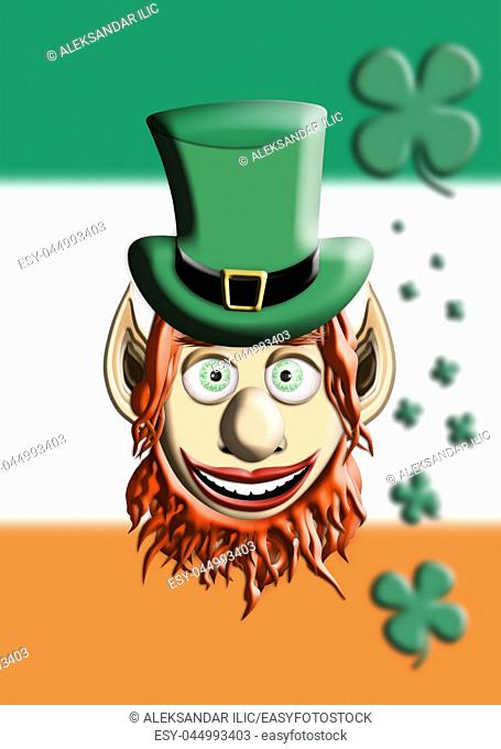 St Patrick's Day. Leprechaun With Green Hat Against Irish Flag and Four Leaf Clover Background 3D illustration