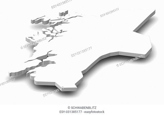 Map of Nord-Trondelag, a province of Norway, as a gray piece with shadow