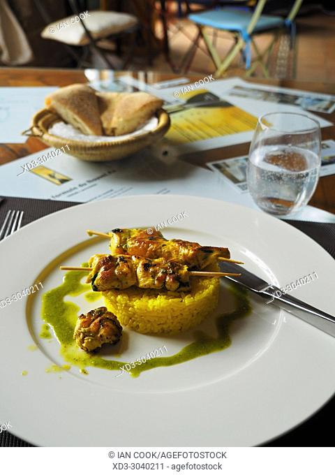 chicken brochette, La Chevre Gourmande Restaurant, Medina, Essaouira, Morocco