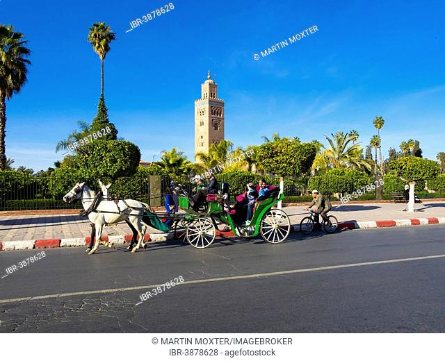 Horse-drawn carriage in front of the Koutoubia Mosque, 1158, Medina, Marrakech, Marrakech-Tensift-Al Haouz, Morocco