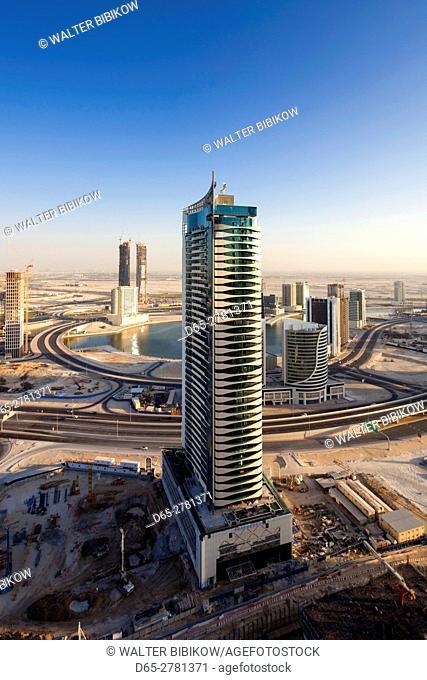UAE, Dubai, Downtown Dubai, elevated view of the edge of Downtown area towards Ras Al Khor