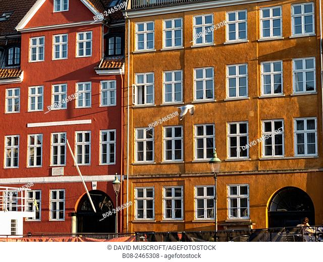 traditional architecture in Nyhavn harbour area,Copenhagen,Denmark
