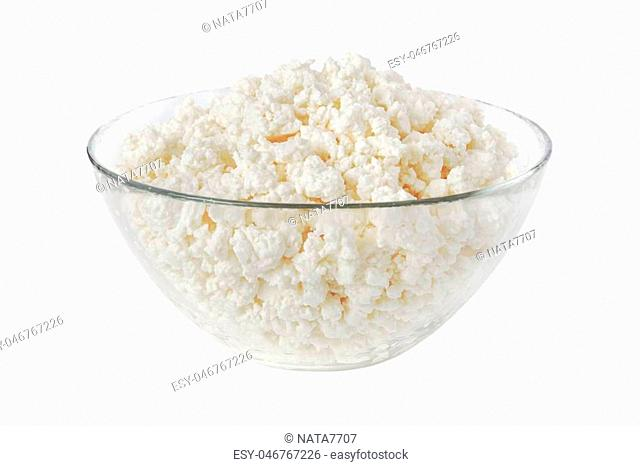 cottage cheese in a bowl isolated on a white background - with clipping path