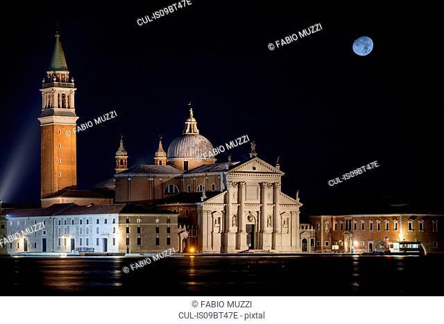 San Giorgio Maggiore church and moon at night, Venice, Veneto, Italy