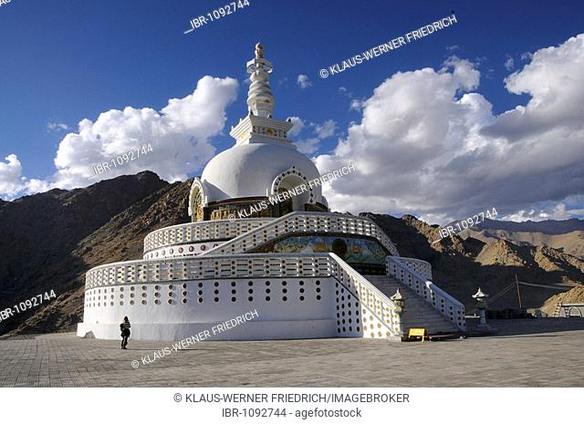 Shanti Stupa above Leh, Ladakh, India, Himalayas, Asia