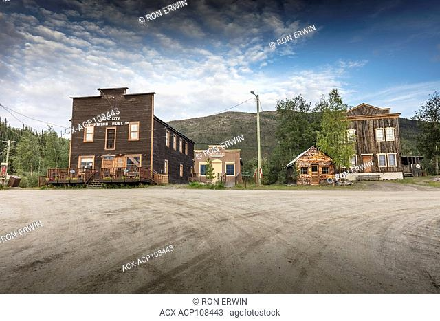Keno City Mining Museum (Jackson Hall) and other old buildings in Keno City, Yukon, Canada