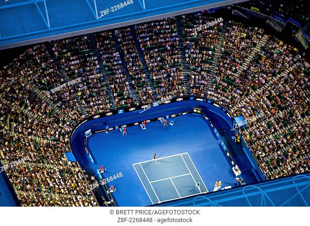Dusk aerial view of the Australian Open Tennis tournament. At Rod Laver Arena