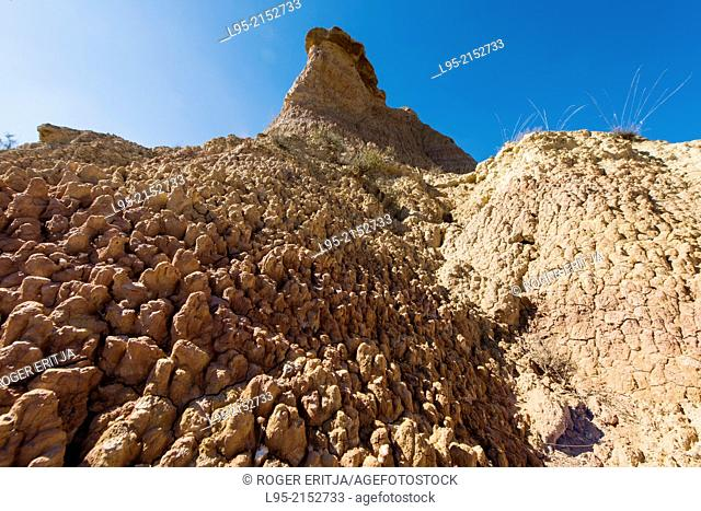 Characteristic erosion pattern by rainfall on clay-based ground forming pinnacles in the Monegros natural area, Aragón, Spain