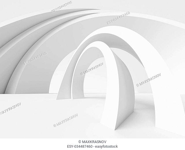 3d Illustration of White Abstract Architecture Background