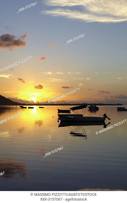 Little harbour at sunset in Le Morne Brabant, Mauritius