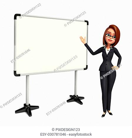 Illustration of Young Business Woman with display board