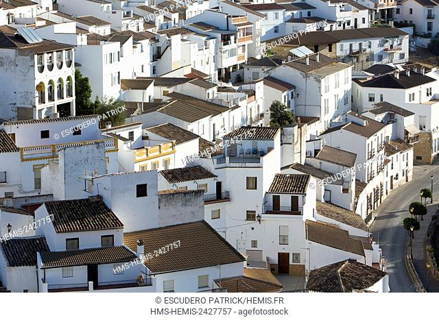 Spain, Andalucia, Setenil de las Bodegas, high angle view of the village