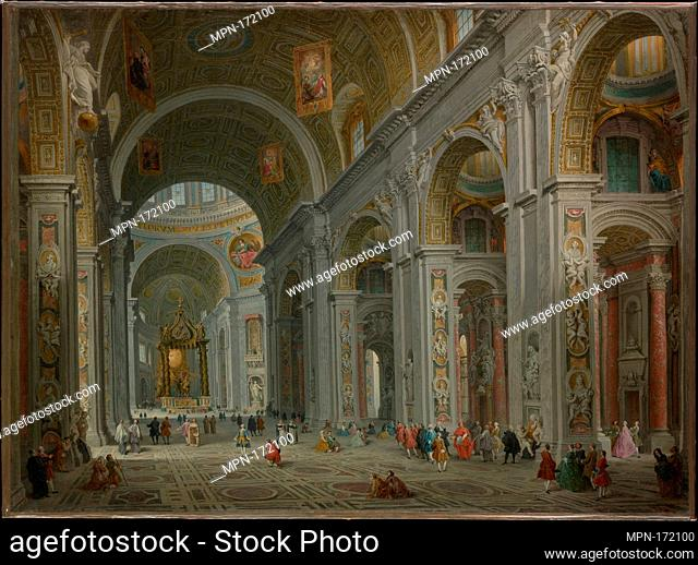 Interior of Saint Peter's, Rome. Artist: Giovanni Paolo Panini (Italian, Piacenza 1691-1765 Rome); Date: after 1754; Medium: Oil on canvas; Dimensions: 29 1/8 x...