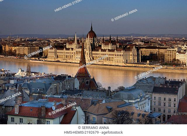 Hungary, Budapest, listed as World Heritage by UNESCO, The Parliament seen from Fishermen's bastion, Halászbástya