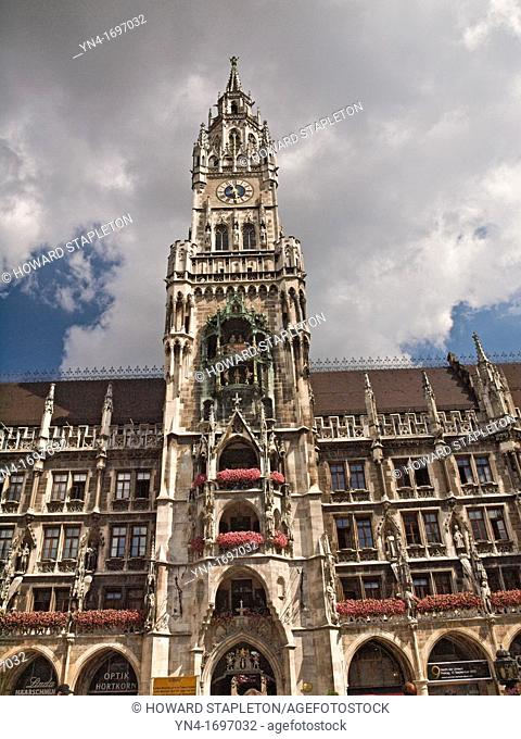 The clock tower of the new City Hall in Munich, Germany Sometimes known as Maria's column since the gothic building is located on Marianplatz or Mary's plaza