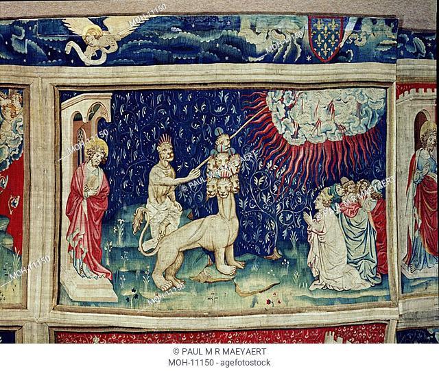 La Tenture de l'Apocalypse d'Angers, Le Bête de la terre fait tomber le feu du ciel 1,54 x 2,41m, das Tier läßt Feuer vom Himmel fallen