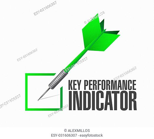 key performance indicator dart check mark illustration design over a white background