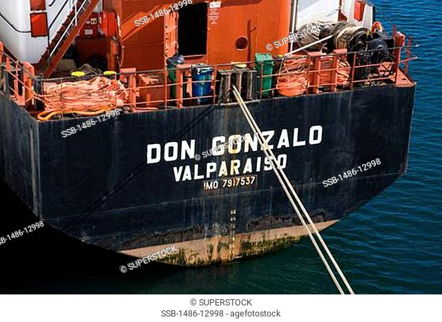 Oil tanker at a port, Valparaiso, Chile