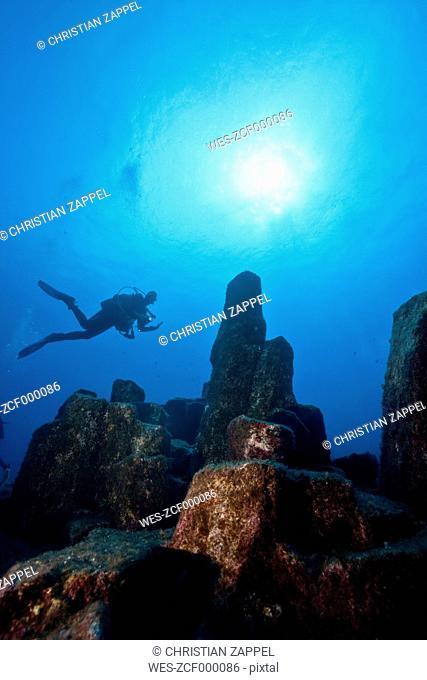 Portugal, Azores, Santa Maria, Atlantic Ocean, diver at volcanic basalt reef