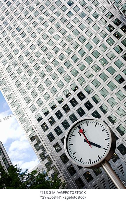 Clock and building at Canary Wharf, London, England, UK