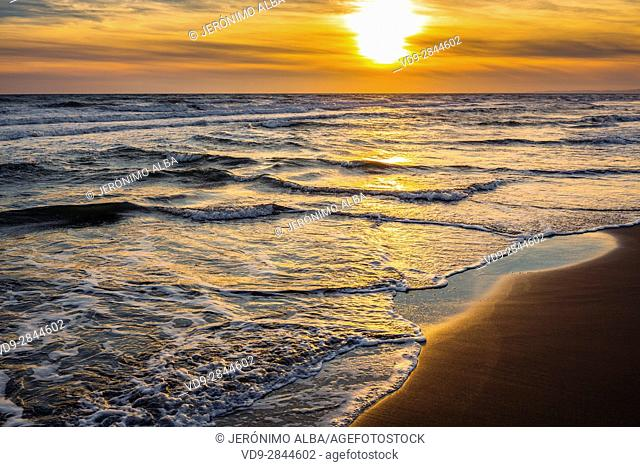 Cabopino beach at sunset, Marbella. Malaga province Costa del Sol. Andalusia Southern Spain, Europe