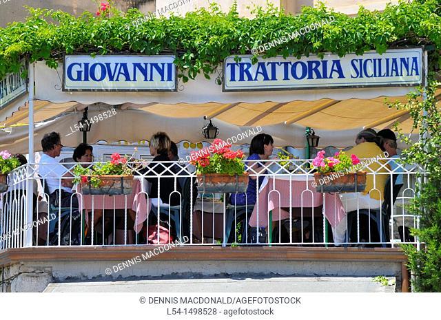 Restaurant Taormina Sicily Mediterranean Sea Island