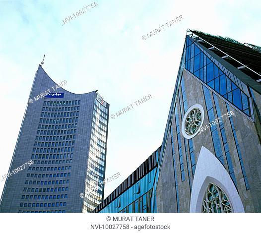 Paulinum and City Hochhaus, Leipzig, Saxony, Germany