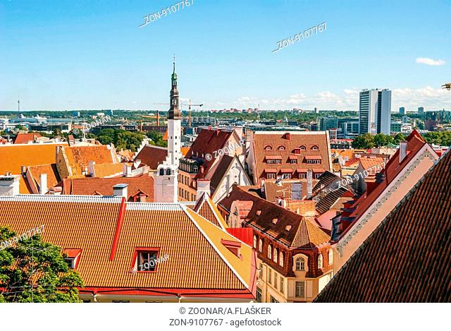 Beautiful view on Tallinn old town with bright roofs