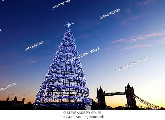 England, London, Southwark, More London Riverside, Christmas Tree and Tower Bridge