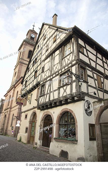 Riquewihr town on wine route Alsace known for the Riesling and other great wines on May 14, 2016 in Alsace, France
