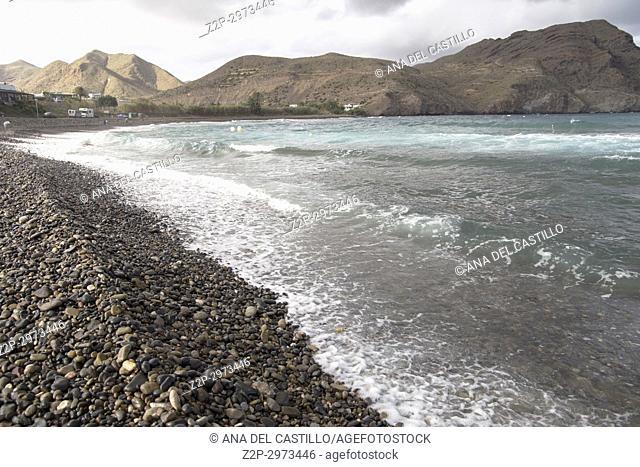 Las Negras beach and village in Cabo de Gata nature reserve, Almeria, Andalusia, Spain