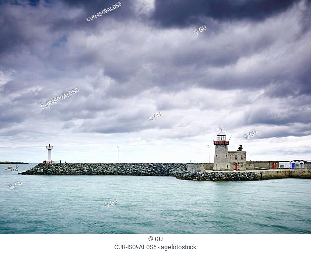 View of harbor wall, Howth, Dublin Bay, Republic of Ireland