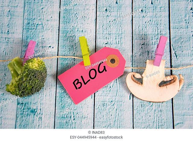 Blog inscription written on paper tag