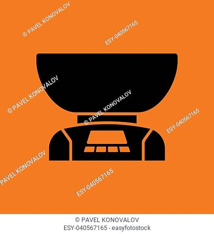 Kitchen electric scales icon. Orange background with black. Vector illustration