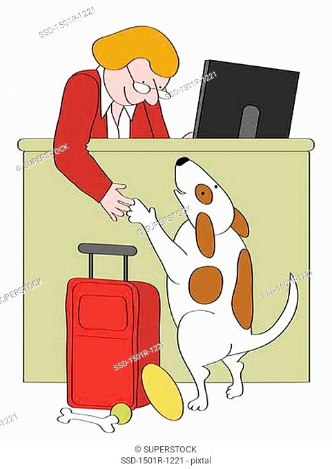 Dog at motel reception desk, illustration