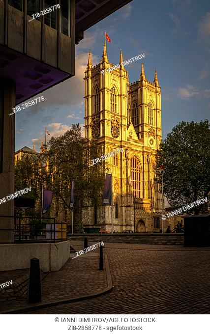 Westminster Abbey,lit by the setting sun,London,England