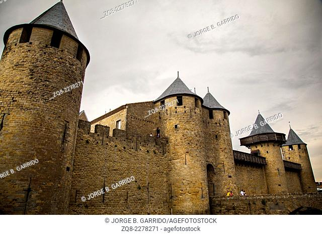 The inner walled city of Carcassonne, France