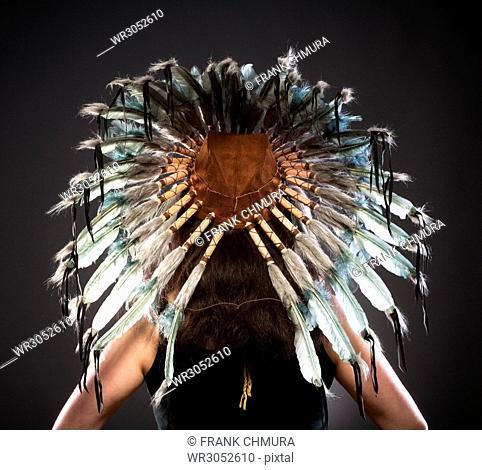 Rear View of Indian Chief War Bonner Headdress