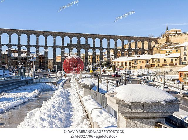 Roman aqueduct, Segovia, snow-covered. Castile-Leon, Spain