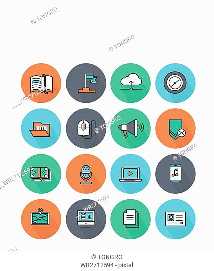 Various icons related to business
