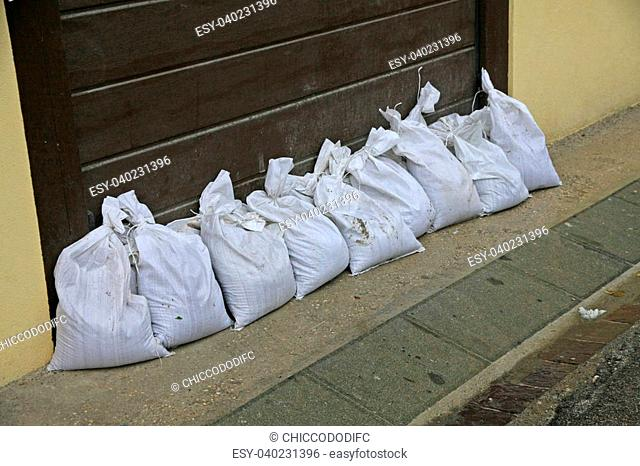 sandbags to protect against flooding of the River during the flood