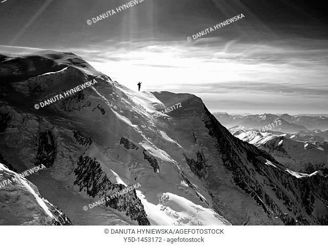 French Alps, view from Aguille du Midi, next to Mt. Blanc, close to Chamonix